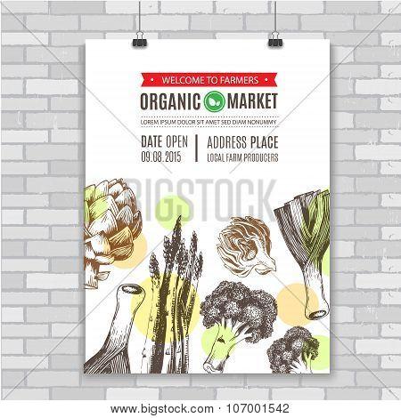 Poster, invitation for organic food market. Fresh vegetables. Vector illustration.