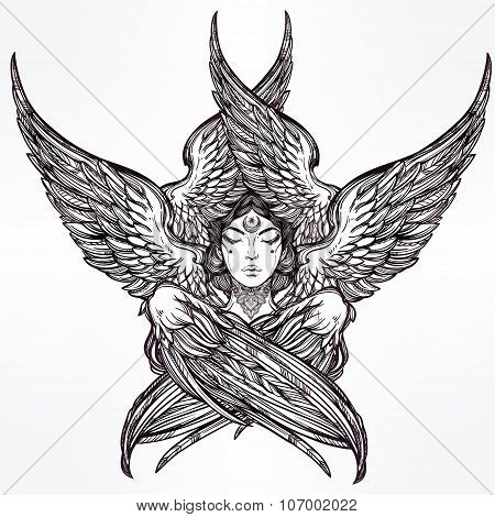 Hand drawn romantic six winged Angel.