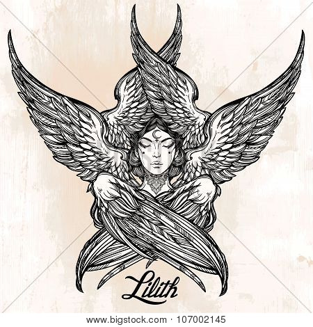 Hand drawn fallen angel Lilith portrait.