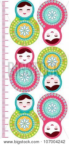 Russian dolls matryoshka on white background, pink and blue colors Children height meter wall sticke
