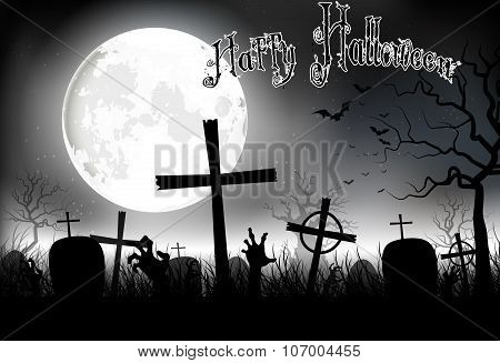 Halloween background night with in graveyard on the full moon