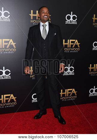 LOS ANGELES - NOV 1:  Will Smith arrives to the Hollywood Film Awards 2015 on November 1, 2015 in Hollywood, CA.