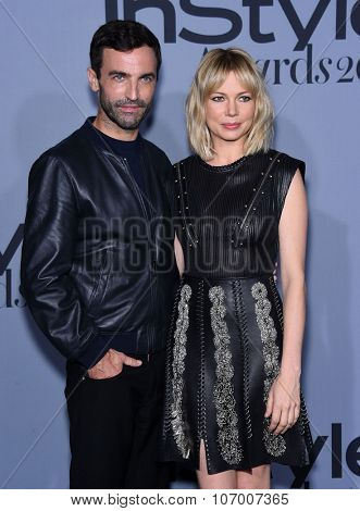 LOS ANGELES - OCT 26:  Nicolas Ghesquiere & Michelle Williams arrives to the InStyle Awards 2015  on October 26, 2015 in Hollywood, CA.