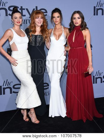 LOS ANGELES - OCT 26:  Miranda Kerr, Charlotte Tilbury, Alessandra Ambrosio & Olivia Cu arrives to the InStyle Awards 2015  on October 26, 2015 in Hollywood, CA.