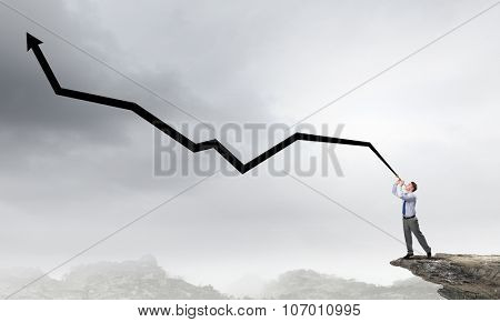 Cheerful businessman playing pipe and financial growth concept