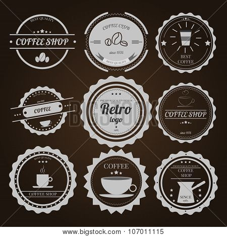 Set Of Vintage Logos On Brown Background For Coffee Shops Cafes And Restaurants Vector Element Desig