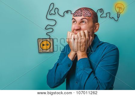 businessman man closed his hands over her mouth wrinkled face br