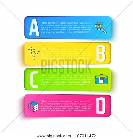 Multicolored baners set isolated on white backgrounds. Vector illustration for presentations, brochu
