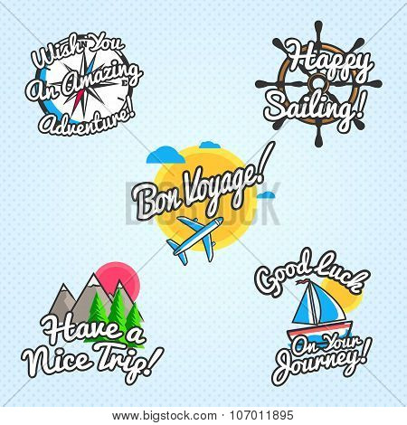 Travel wishes and greetings set. Vector illustration for touristic greeting cards, brochures, poster