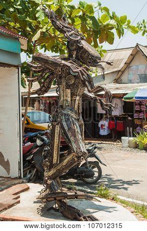Alien made from scrap metal.