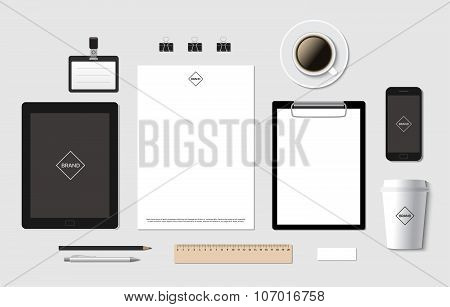 Blank vector branding template mockup for CI presentation