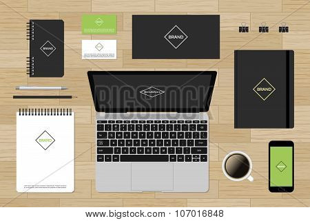 Editable vector branding mockup for CI on wood background
