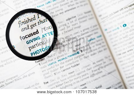 Dictionary Definition Of The Word Focused And Magnifying Glass