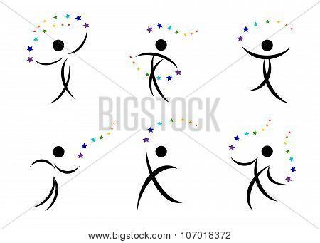 A set of logos, people