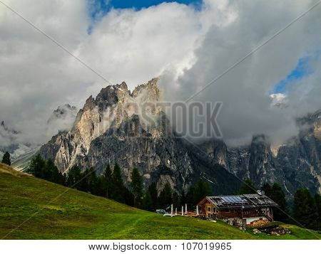 Italy Green slopes of the foot of the Dolomite alps
