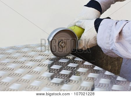 Handyman Cutting Steel Plate