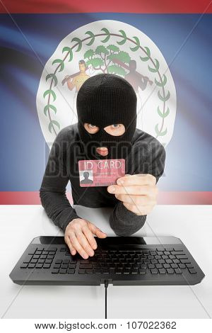 Hacker With Flag On Background Holding Id Card In Hand - Belize