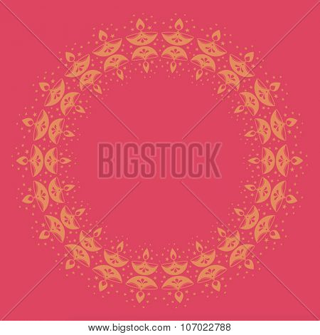 Circular decorative border made with Diwali lamp. Vector border design.