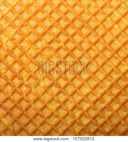 Waffle texture closeup, wafer pattern