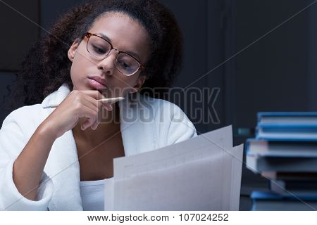 Black Girl Reading A Document