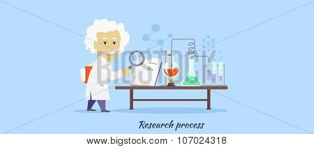 Research Process Icon Flat Design