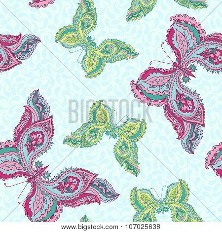Vector seamless pattern with decorative colored butterflies.