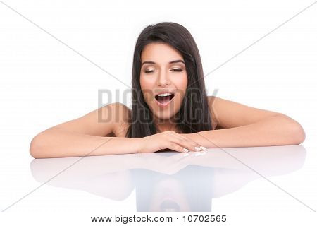 Portrait Of A Young Woman Yawning