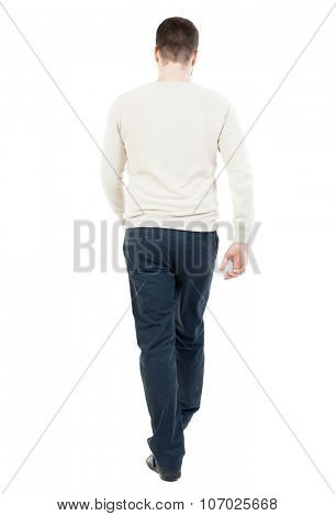 Back view of going  handsome man. walking young guy . Rear view people collection.  backside view of person.  Isolated over white background.