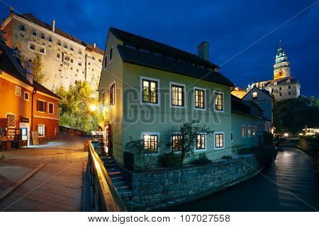 Beautiful night view to castle tower in Cesky Krumlov, Czech rep