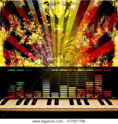 Musical Background Piano Keys And Equalizer