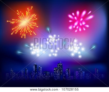 Fireworks over the City. Vector illustration
