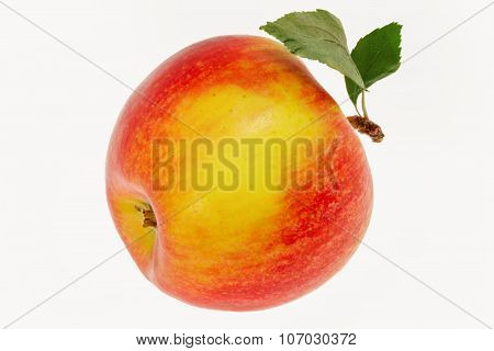 Image One Apple With A Leaf On A White Background