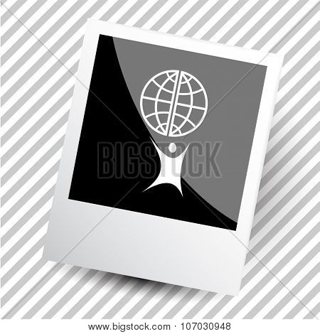 little man with globe. Photoframe. Vector icon.