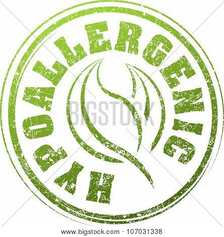 Abstract Green Grunge Rubber Stamp With Caption Hypoallergenic And Pair Of Leaves
