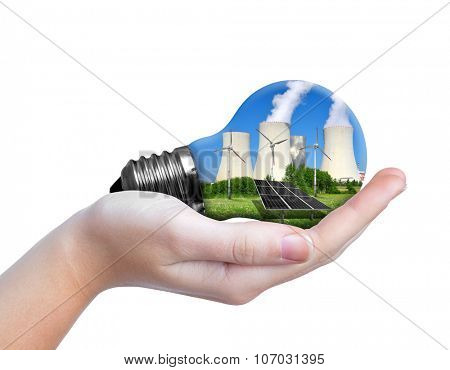 Hand holding eco lightbulb isolated on white background. Energy resources concept.