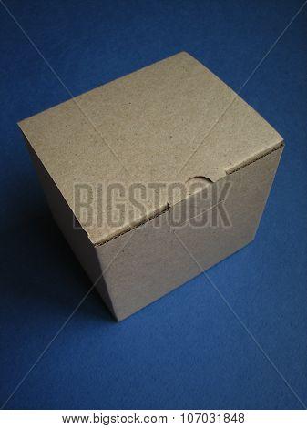 Cardboard Box on a dark blue background