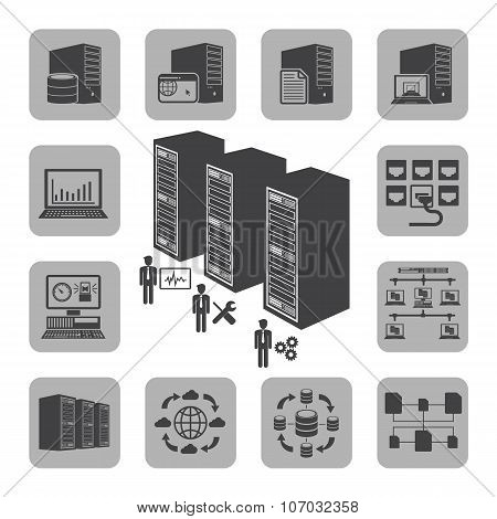 Big Data icons set, System infrastructure.