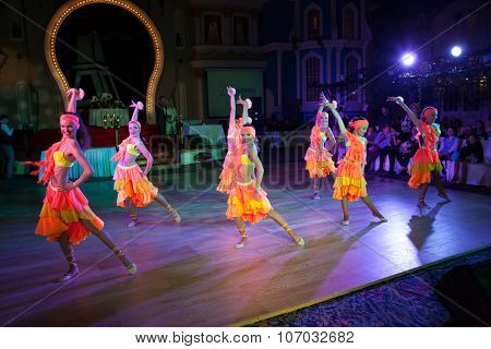 MOSCOW - OCTOBER 18: Unidentified female teens age 14-17 compete in latino dance on the Artistic Dance Awards 2014-2015, organized by World Dance Artistic Federation on October 18, 2015 in Moscow.