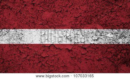 flag of Latvia, Latvian flag painted on cracked paint