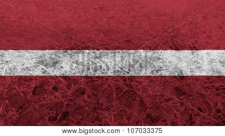 flag of Latvia, Latvian flag painted on ice texture