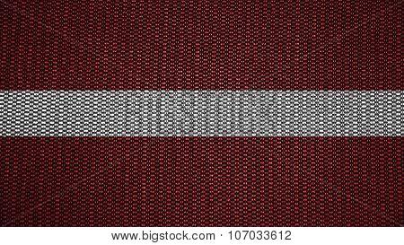 flag of Latvia, Latvian flag painted on stitch texture