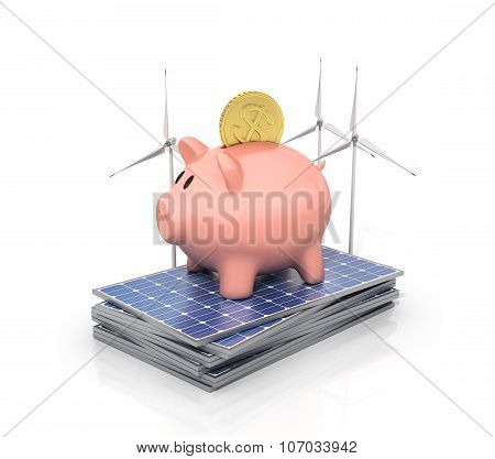 Concept Of Saving Money If Using Solar Energy. Solar Panels And Wind Towers Near Moneybox In The For