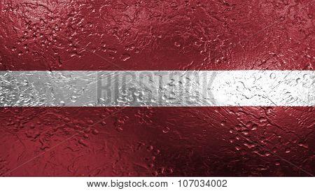 flag of Latvia, Latvian flag painted on metal texture