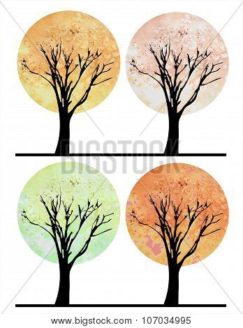 Set Of Stylized Watercolor Trees For All Four Seasons - Winter, Spring, Summer, Autumn. Black Silhou