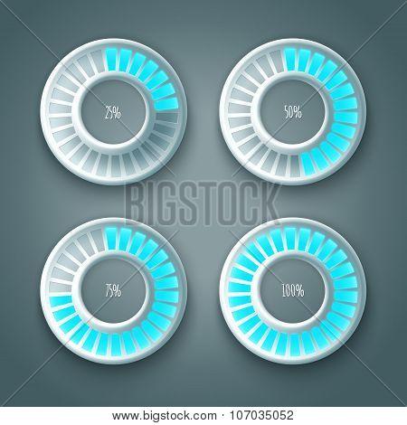 Set of glowing preloaders