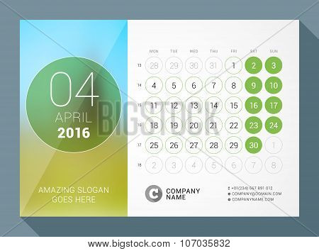 April 2016. Desk Calendar For 2016 Year. Vector Design Print Template With Place For Photo