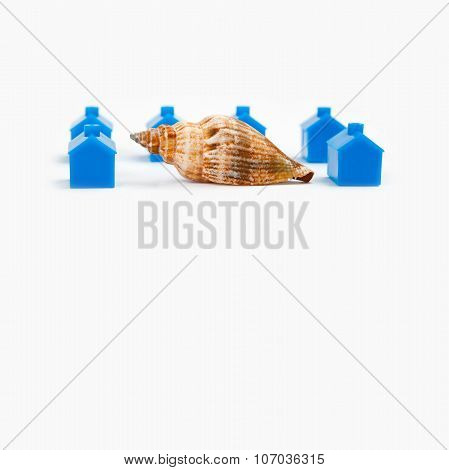 Abstract town landscape with blue houses and snail. gray background