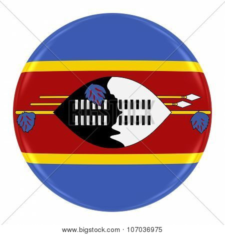 Swazi Flag Badge - Flag Of Swaziland Button Isolated On White