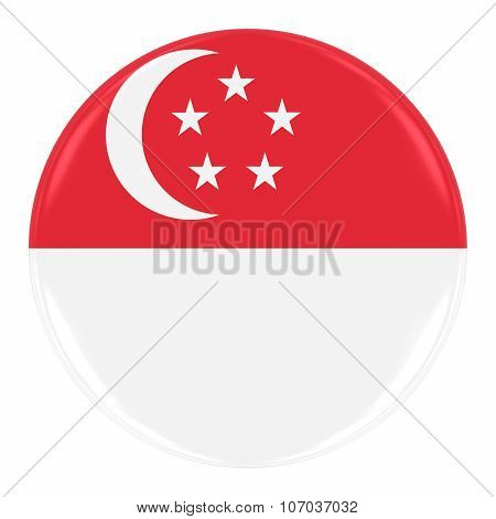 Singaporean Flag Badge - Flag Of Singapore Button Isolated On White