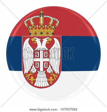 Serbian Flag Badge - Flag Of Serbia Button Isolated On White
